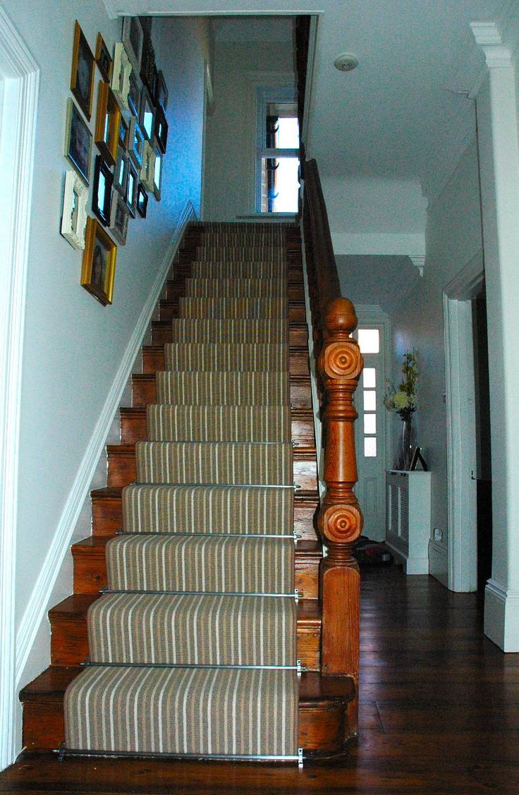 Striped carpet stair runner with stairrods   Highdown Carpets
