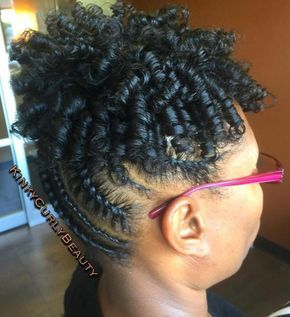 Flat Twists Updo With Curls