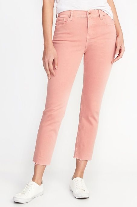 5ca7cfdaea616 Old Navy The Power Jean a.k.a. The Perfect Straight for Women. Pink pants  and denim, affordable style, sale, cropped jeans, colored jeans, spring and  summer ...