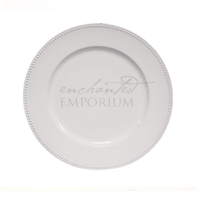 White Beaded Charger Plate, Enchanted Emporium