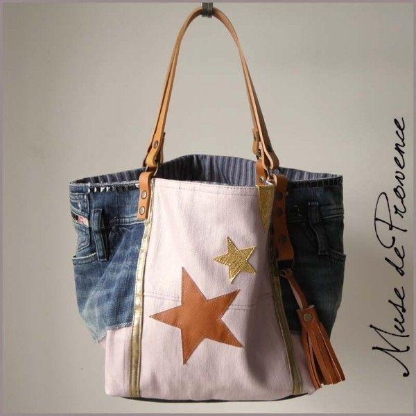 sac cabas en patchwork jean fait main2 purses pinterest bag purse and denim bag. Black Bedroom Furniture Sets. Home Design Ideas