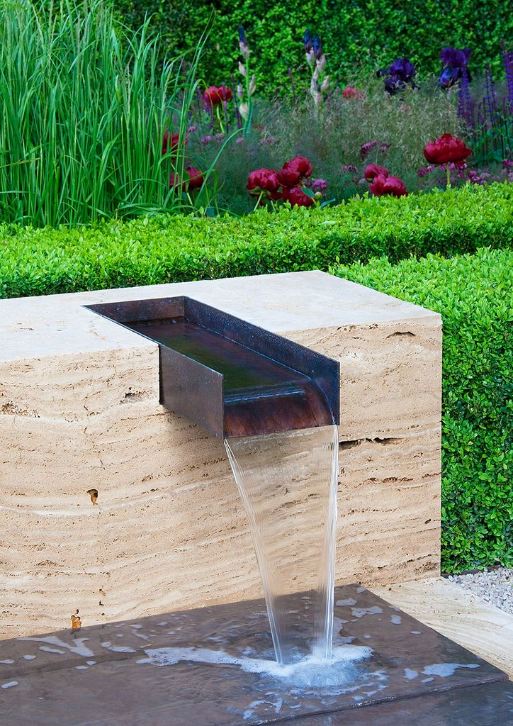 steel i beam weir, embedded in stone Chelsea Flower Show 09