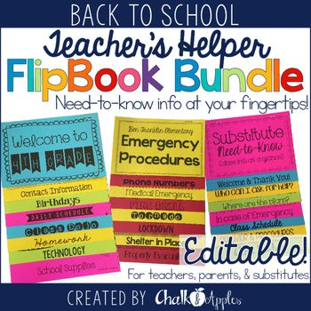 All of my Teacher's Helper Editable Flipbooks in one Bundle!These flip books keep important information in an easy to find format. Class policies & information for back to school parent night, emergency procedures, and substitute information at-a-glance!Print on brightly colored paper and hang in a prominent location or distribute to parents.