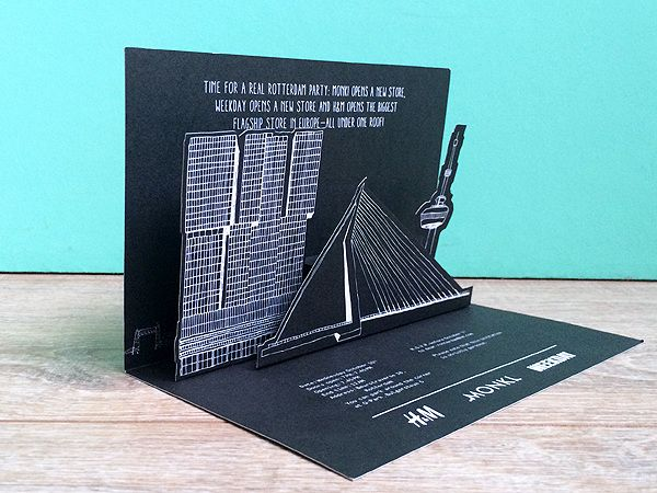 Made by Marianne Lock / Illustration of the Rotterdam skyline / H&M / Graphic design by Glamcult / Pop-up card