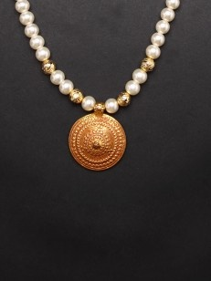 Buy Golden necklace with pearl string online