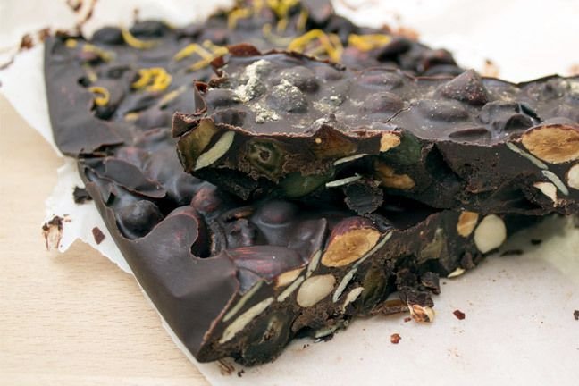 This dark chocolate bark is full of healthy, skin-boosting flavanols and chia seeds.