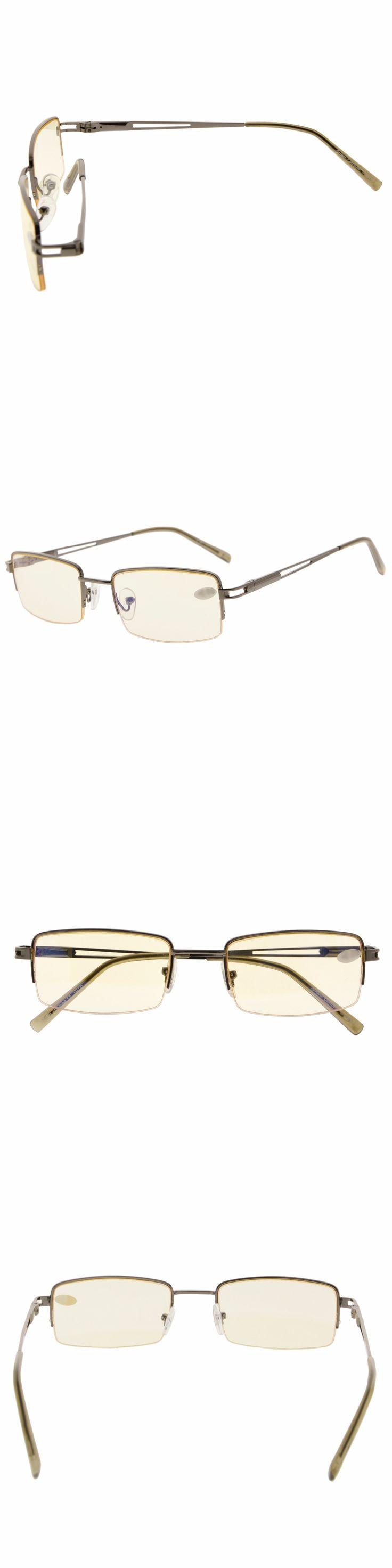 CG15014 Eyekepper Rectangle Metal Half-rim Spring Hinges Computer Readers Reading Glasses Yellow Tinted Lenses