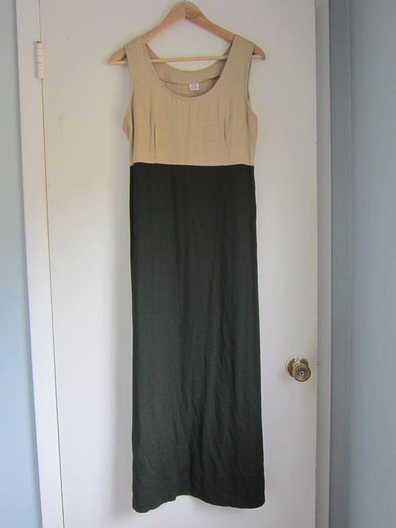 Beige & Olive Green Jumper Dress size 8 9/10  Rayon/Acetate