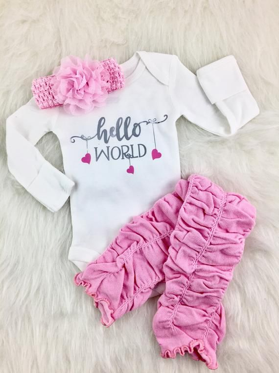 66731096b HELLO WORLD- Newborn Onesie, Welcome new baby, Birth Announcement, New Baby  girl, baby girl clothes, take home outfit girls, going home set