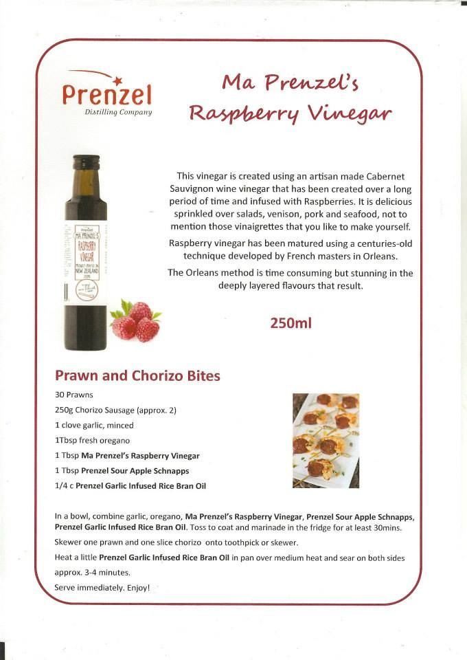 Prenzel Raspberry Vinegar is created using the iconic Prenzel Cabernet Sauvignon vinegar that has taken over 15 years to create by the centuries' old Orleans method. It is then infused with raspberries. Delicious over salads, venison, pork and seafood, baked beetroot, not to mention those vinaigrettes that you like to make yourself.