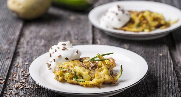 Rosti di zucchine, patate e mousse di ricotta