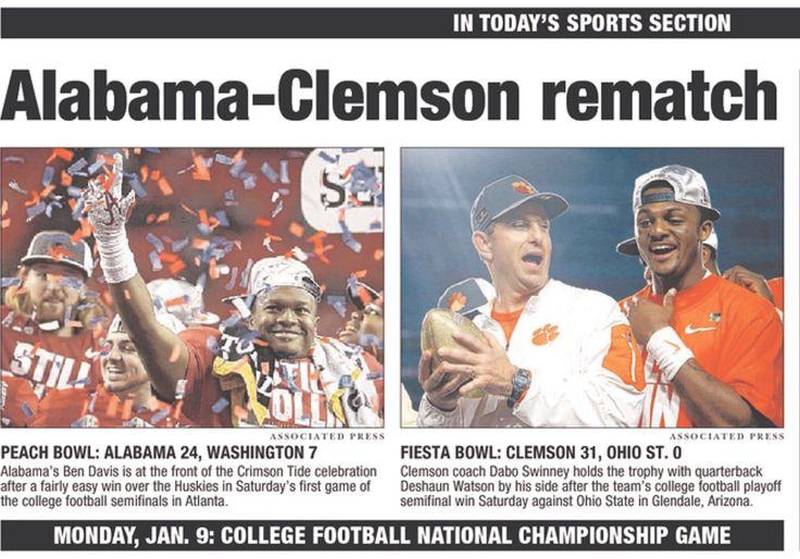 ALABAMA-CLEMSON REMATCH - Headlines from Alabama's Peach Bowl victory vs Washington 24 - 7. Tampa Bay Headlines Alabama 24 Washington 7 in the 2016 Peach Bowl CFB Playoff. #CFBPlayoff #BAMAvsWASH #PeachBowl #Alabama #RollTide #Bama #BuiltByBama #RTR #CrimsonTide #RammerJammer