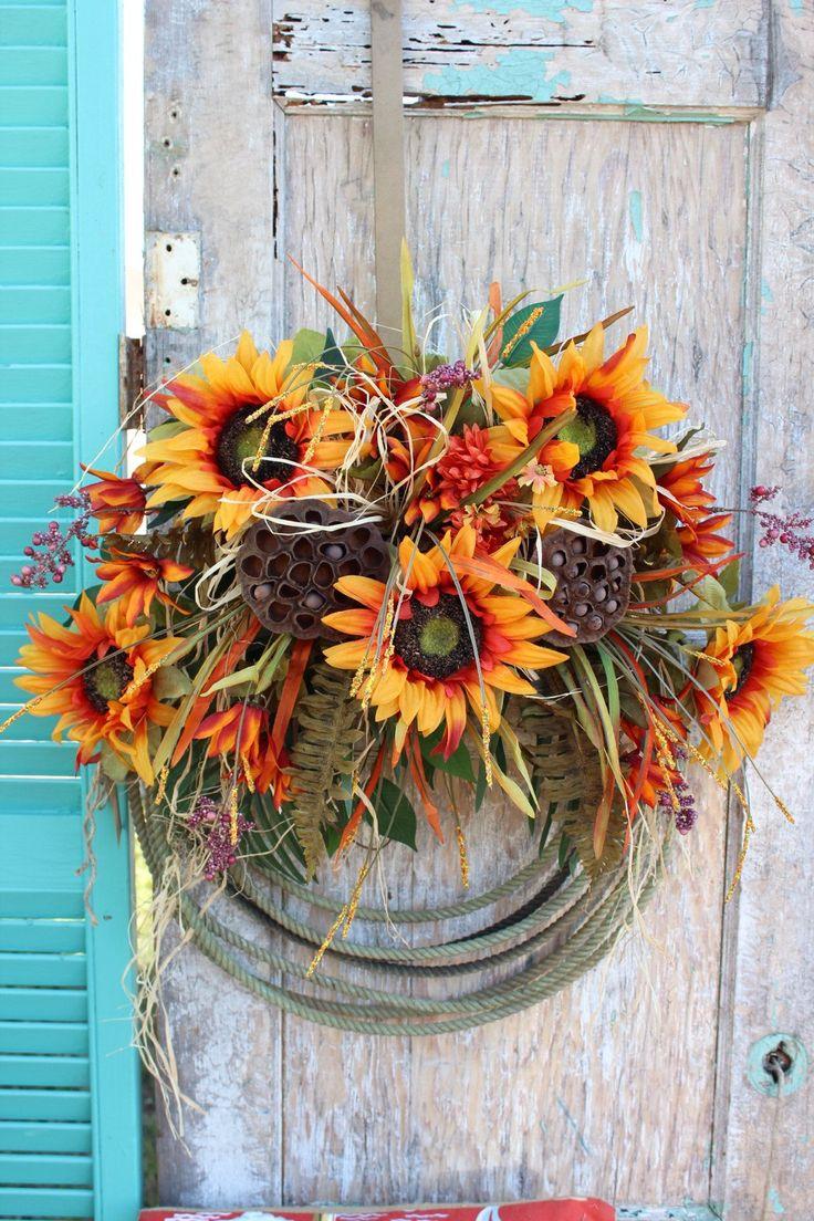Rustic Fall Sunflower Western Lariat Rope Wreath with autumn flowers Cowboy Lasso Wreath Country Farm Ranch House Decor o5 by GypsyFarmGirl on Etsy