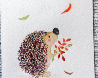 Aquarelle originale de hérisson, couleurs d'automne, feuilles, animaux bois, éclaboussures, automne, artistique pour les enfants, art de pépinière, lunatique