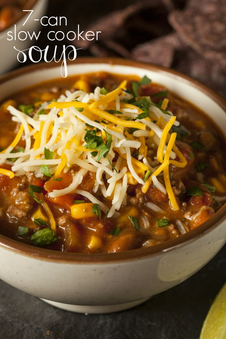 This Slow Cooker 7 Can Soup is the truly the easiest slowcooker recipe you will ever make. Brown the beef, open the cans, dump in the crock-pot, and wait! Add this to your soup recipes!