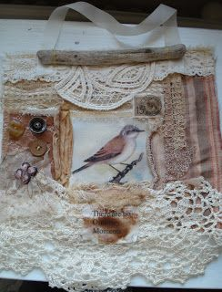 fabric and lace collage by Dorthe of Den Lille Lade