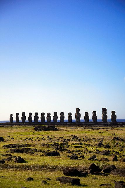 Easter Island, Chile.    I personally think this was the beginning of the stick-family stickers people put on minivans