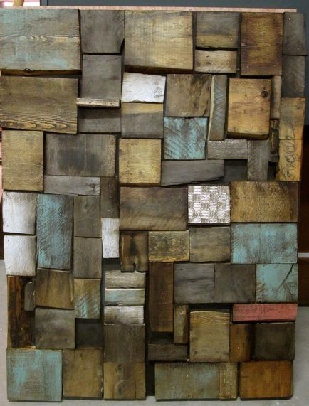 awesome original wall art from repurposed pallet wood. Different colors stains to add to a few of the wood blocks. ❤❤❤❤