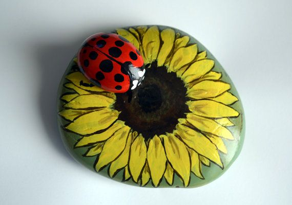 Ladybug On Sunflower Hand Painted Stone Hands Hand