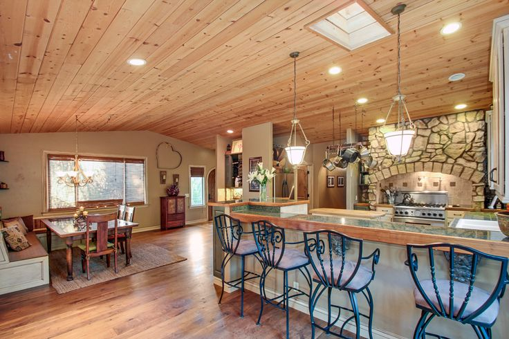 Knotty Pine Vaulted Ceilings And Walnut Hardwood Flooring Great