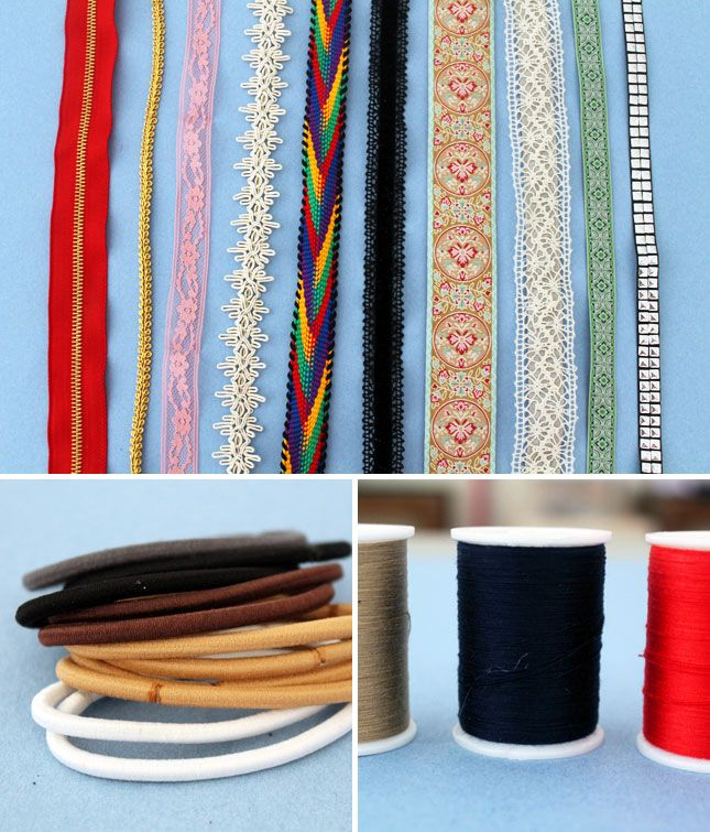 tie or sew both sides of the ribbon or fabric strip to the elastic hairband=a fun DIY headband in 5 minutes