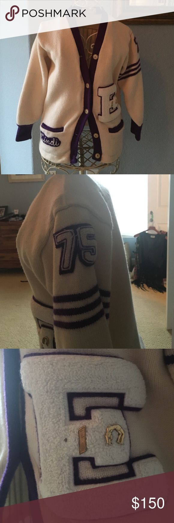 Vintage 1960's Letterman Cheerleading Sweater M/L Amazing vintage 1960's letterman (letterwoman) cheerleading sweater. White with purple striping. In perfect vintage condition  fits medium/large. Vintage Sweaters Cardigans