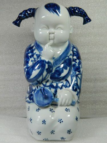 Chinese Blue White Porcelain Child Statue Figurine With Certificate Chinoiserie Pinterest And