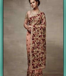 Buy Peach pink georgette saree with complete thread work  bollywood-saree online