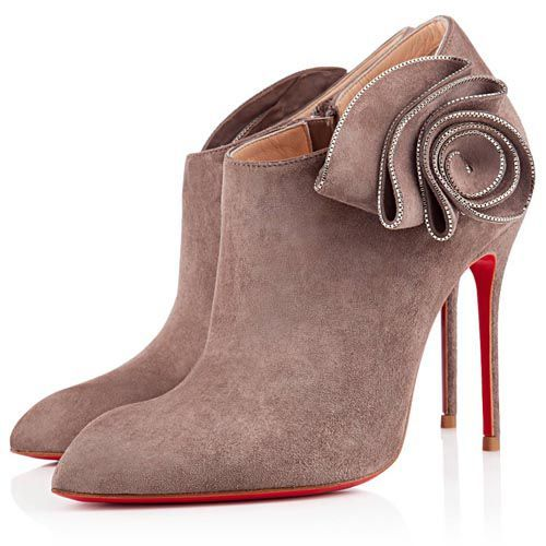 Christian Louboutin Mrs Baba 100mm Ankle Boots Taupe Suede