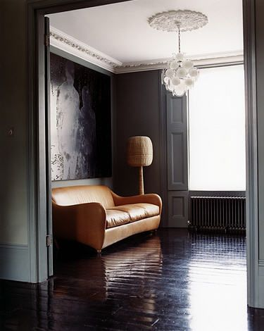 : Interiors Inspiration, Living Rooms, Leather Sofas, Wall Color, Grey Wall, Interiors Design, Dark Floors, Dark Wall, Gray Wall