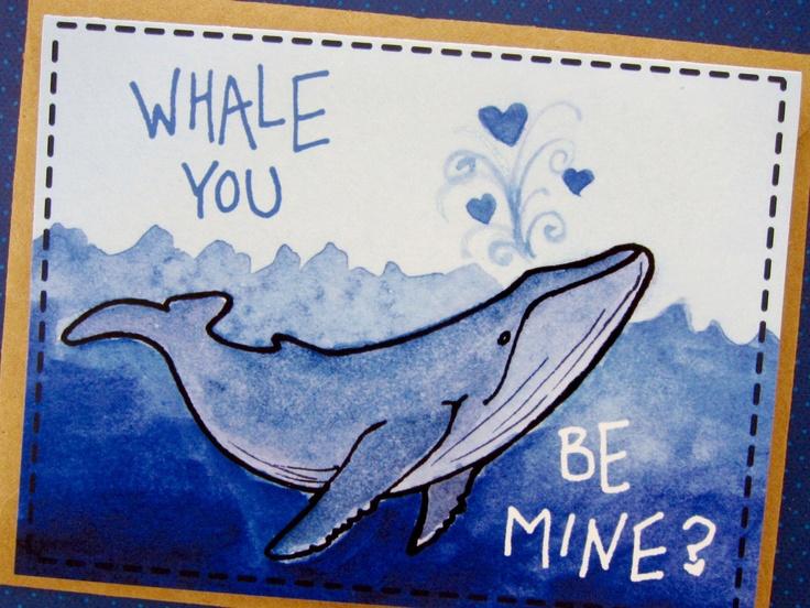 Whale, Ocean Anniversary, Love Note for Boyfriend/Girlfriend, Fiance, Spouse, Blank Card with Envelope. $4.00, via Etsy.
