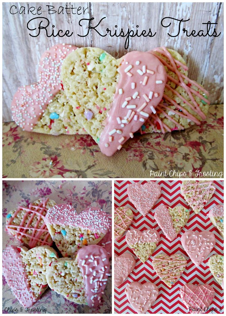 Cake Batter Rice Krispies Treats | paintchipsandfrosting.com  Ooey Gooey cake batter marshmallow goodness loaded with sprinkles and cut into cute hearts! #ricekrispies #dessertrecipes #valentinesday #cakebatter