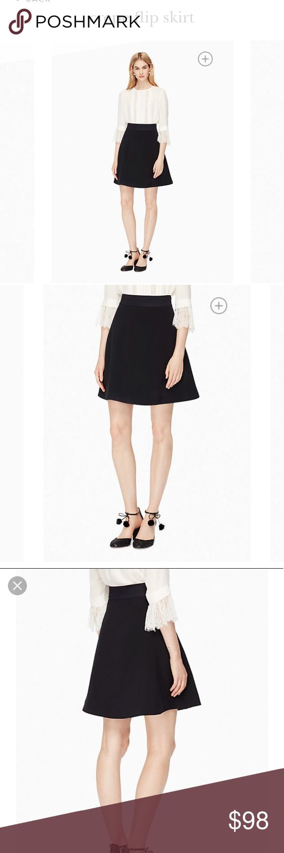 ♠️ Kate Spade crepe flip skirt in black Fun, simple, versatile skirt by Kate Spade! Size 4 with elastic waistband for comfort and great fit. Wear from work to happy hour! See measurements in description!  Brand new, tags attached no damage or flaws! kate spade Skirts Midi
