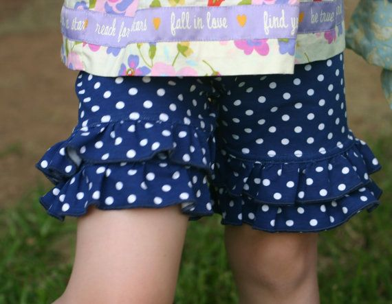 navy blue with white polka dots ruffle shorts with double ruffles sizes 12m - 14 girls
