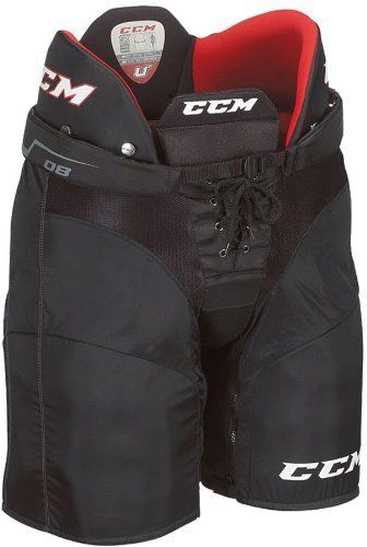 CCM U+08 Junior Ice Hockey Pants-Black by CCM. $59.99. The CCM U+ 08 Player Pants feature molded foam with polyethylene (PE) reinforcements in the spine and a segmented tailbone with PE reinforcements for excellent protection. Also, the hips and thigh guard use molded PE with foam reinforcements for additional protection. The exterior of the pant is constructed with a lightweight nylon allowing you to move freely on the ice. Other features include a double stit...