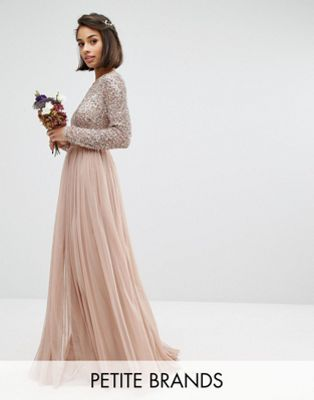 Maya Petite Long Sleeve Sequin Top Maxi Tulle Dress With Deep V Back