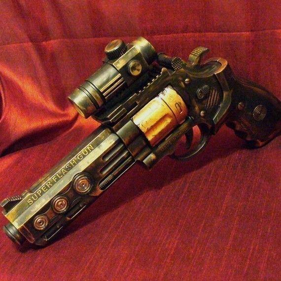Steampunk cyber gothique pistolet pistolet laser outil pistolet LARP Prof. Von Kreuzenberg dans une autre dimension