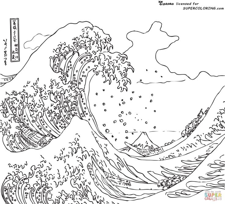 wonderful for teaching little artists the great wave off kanagawa by hokusai coloring page