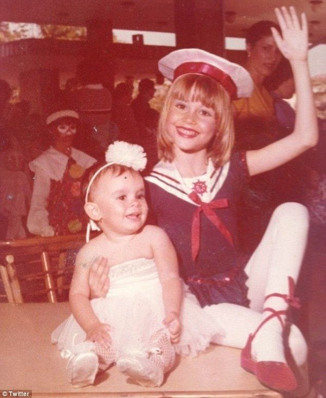 Fair haired child: The Colombian-born actress showed off her younger years when she wore her hair short with fringe