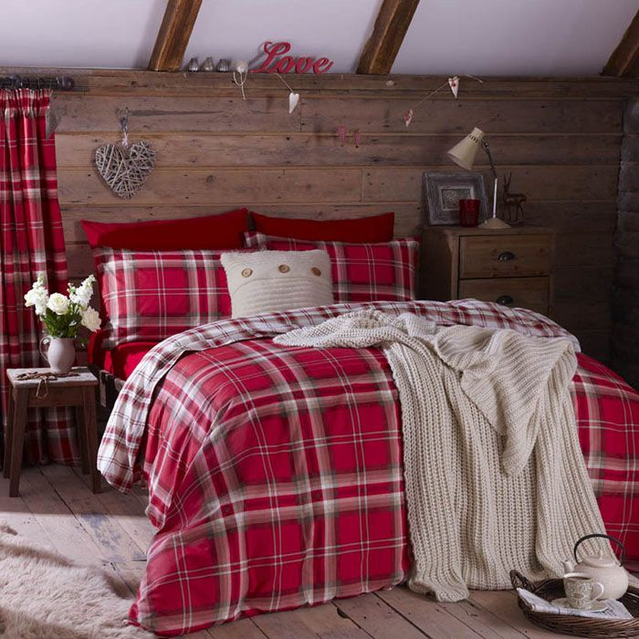 A warming red or grey check which is completely reversible. Great Value bedding