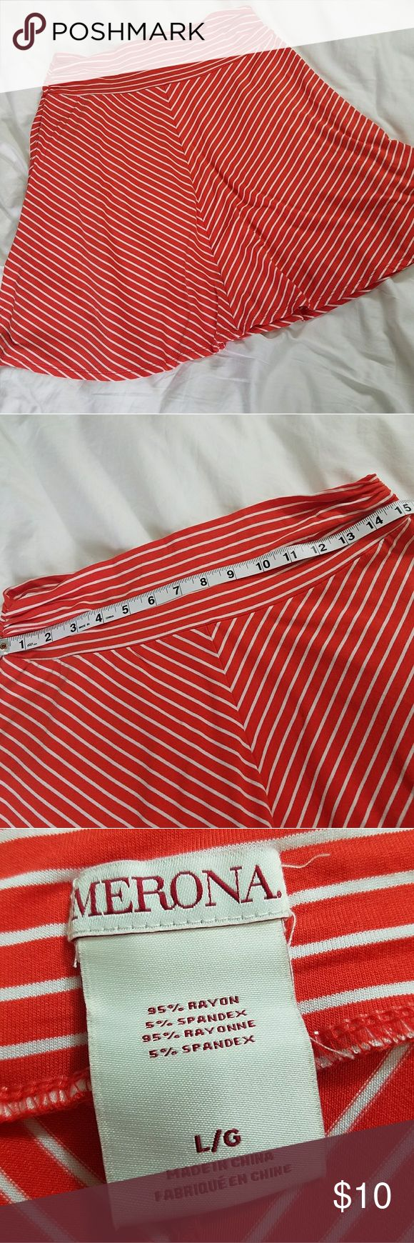 Merona Large Soft Chevron Striped Skirt Merona size LARGE womens soft jersey knit skirt with chevron stripes. Skirt is a reddish orange with white stripes. Wide waistband with ruched detail.   Fabric content: 95% rayon, 5% spandex.  Excellent condition with no signs of wear. See photos for measurements and details. Merona Skirts Circle & Skater