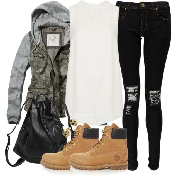 Malia Inspired Outfit with Timberlands by veterization on Polyvore featuring Topshop, Abercrombie & Fitch, Boohoo, Timberland, Monki and Kasun