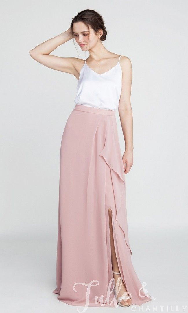 Long Chiffon Bridesmaid Dress with Slit TBQP391 click for 40+ colors