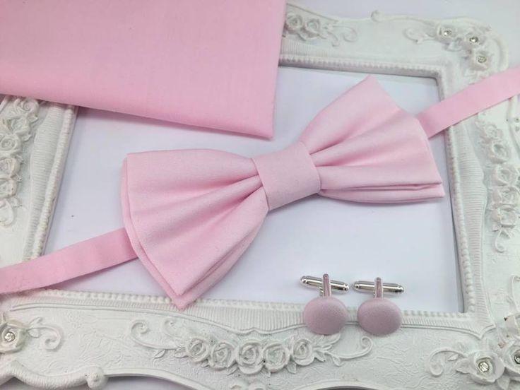 Set Noeud Papillon Double, Pochette costume et Boutons de manchette assortie rose pâle- Homme : Cravates par fleurs-de-provence