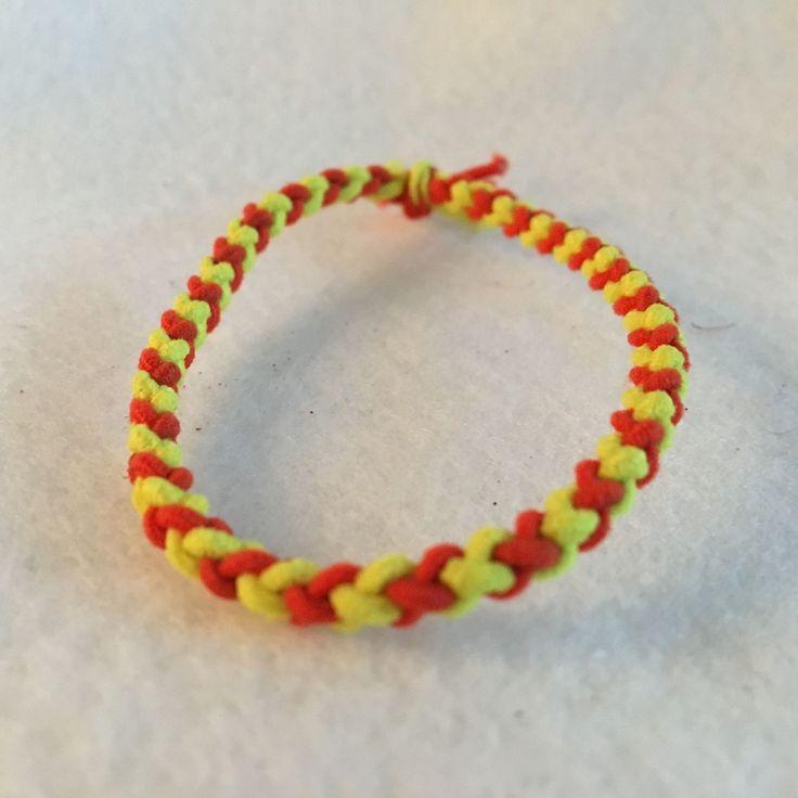 Braided Ponytail Holders, Ponytail Holder, School Spirit Ponytail Holder, Yellow and Pink, Elastic Bracelet, Ponytail Holder Elastic, Hair Tie, Hair Band