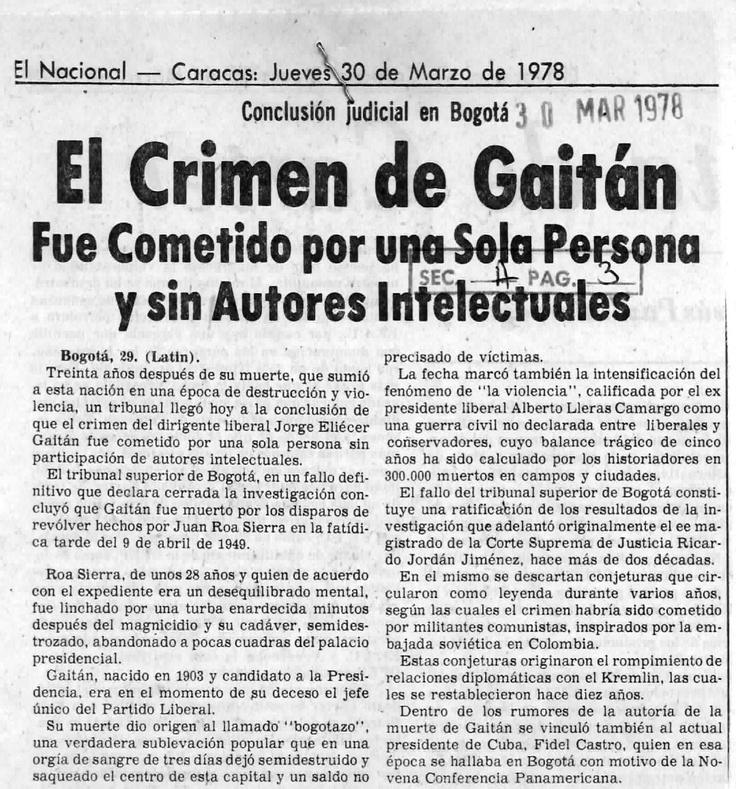 A los 30 años del asesinato de Gaitán. Publicado el 30 de marzo de 1978.