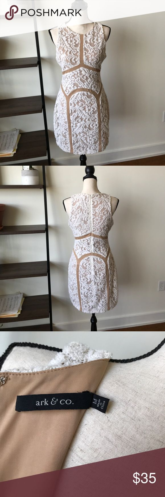 "White and tan lace dress Great condition lace dress. Worn once. Super stretchy and comfortable on. Long zipper in the back. Length 35"", waist 15"", armpit to armpit 18"" Super cute ""fuzzy"" lace fabric. Ark & Co Dresses Mini"