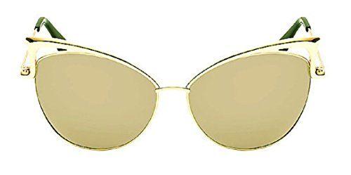 c9e48bec73 YABINA Sexy Cateye Women Sunglasses Oversized Metal Frame Flat Mirrored  Lens (E)