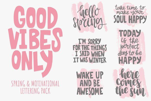 Good Vibes Only: lettering pack by rorygez fresh on @creativemarket #spring #calligraphy #creativemarket