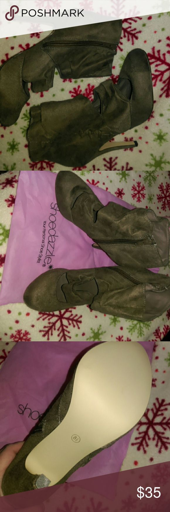"Shoe Dazzle Booties NWOT Brown, Cut-out, Shoe Dazzle Booties w/4"" heels. These gorgeous shoes have never been worn, and unfortunately just sit in their dust bag in  my closet. Shoe Dazzle Shoes"